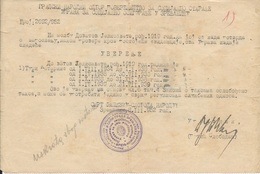 Document DO000210 - Certificate Zrenjanin Serbia Yugoslavia 1952 - Documenti Storici