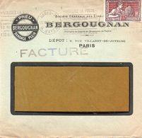 V7SA Enveloppe Timbrée Timbre Exposition Paris 1925 Entête Paris Pneu Bergougnan Bandage Plein - Marcofilia (sobres)