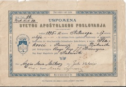Document DO000213 - Church Certificate Slakovci Croatia Austria Hungary 1895 - Documenti Storici