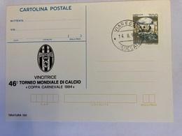 Italia 1994 Cartolina Postale Numerata C221 Con Sovrastampa Privata 1994 Torneo Di Viareggio Juventus. - Postwaardestukken