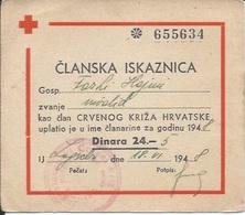 Membership Card DO000214 - Red Cross (Rotkreuz / Crveni Kriz) Yugoslavia Croatia Hrvatska 1948 - Documenti Storici