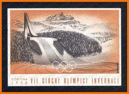 VII GIOCHI OLIMPICI INVERNALI 1956 Annullo Cortina Pattinaggio Illustrata Da Mancioli 2381.C685 - Winter Sports