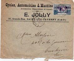 V7SA Enveloppe Timbrée Timbre Exposition Paris 1925 Entête 95 St Leu Taverny Cycles Autos Machines E. Jolly Pubs V° - Marcofilia (sobres)