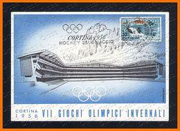 VII GIOCHI OLIMPICI INVERNALI 1956 Annullo Cortina Hockey Illustrata Da Mancioli 2381.C622 - Winter Sports