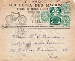 V7SA Enveloppe Timbrée Timbre Exposition Paris 1925 Entête Montchanin Les Mines Le Creusot Docks Des Machines Pubs V° - Marcofilia (sobres)