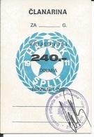 Membership Card DO000216 - Football (Soccer Calcio) Croatia Hrvatska Hajduk Split - Historische Dokumente