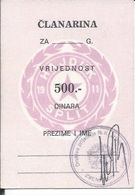Membership Card DO000217 - Football (Soccer Calcio) Croatia Hrvatska Hajduk Split - Documenti Storici