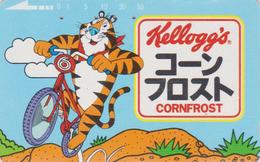 TC JAPON / 110-011 - KELLOGG'S CORN FLAKES - Animal - TIGRE & VELO BIKE  - TIGER & FOOD JAPAN Phonecard - 37 - Alimentación
