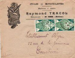 V7SA Enveloppe Timbrée Timbre Exposition Paris 1925 Entête 26 St Uze Drome Cycles Motos Alcyon R. Tracol Mécanicien - 1921-1960: Modern Period