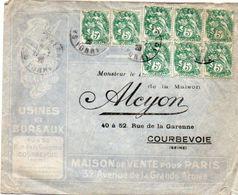 V7SA Enveloppe Timbrée Timbre Exposition Paris 1925 Entête Courbevoie Usine Et Bureaux Alcyon - Marcofilia (sobres)