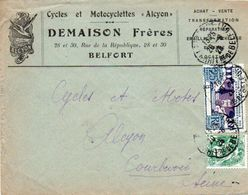 V7SA Enveloppe Timbrée Timbre Exposition Paris 1925 Entête 90 Belfort Cycles Motos Alcyon Demaison Rue De La Republique - Marcofilia (sobres)