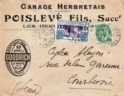 V7SA Enveloppe Timbrée Timbre Exposition Paris 1925 Entête 85 Les Herbiers Garage Herbretais Poislevé - Marcofilia (sobres)