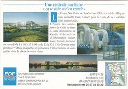 D2274 CENTRALE NUCLÉAIRE DE BRAUD ET SAINT LOUIS - GIRONDE - EDF ELECTRICITÉ DE FRANCE - INFORMATIONS DE VISITE - Industrie