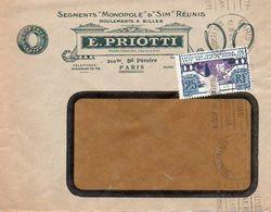 V7SA Enveloppe Timbrée Timbre Exposition Paris 1925 Entête Paris Segments Monopole & Sim Roulements E. Priotti - Marcofilia (sobres)