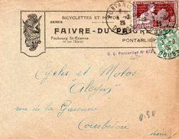 V7SA Enveloppe Timbrée Timbre Exposition Paris 1925 Entête 25 Pontarlier Bicyclettes Motos Alcyon Armes Faub. St Etienne - Marcofilia (sobres)