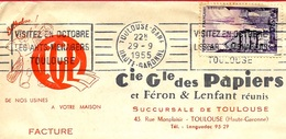 1955 Lettre à En-tête Cie Gle Des Papiers Et Féron & Lenfant Réunis Succursale De (31) Toulouse - Flamme Arts Ménagers - Marcofilia (sobres)