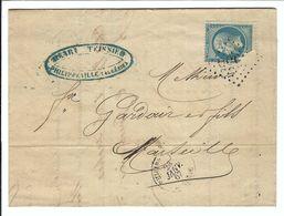 FRANCE 1867: LAC De Philippeville (Algérie) Pour Marseille Avec Y&T 22 Obl. GC 5055 (Ind.3) - 1862 Napoleon III