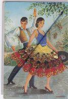 Carte Avec Ajouts Et Brodée : Danseur Et Danseuse Espagnole - Signé V.CEGARRA N°59 - Bordados