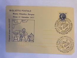 Italia Biglietto Postale B 49 1977 Con Sovrastampa Privata Dedicata Alla Mostra Filatelica Di Stresa Gruppo Scacchi. - Ganzsachen