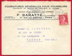 """1955 Lettre à En-tête """"Fournitures Générales Pour Fourreurs - P. BARATTE""""  Rue Des Martyrs 75009 PARIS * Fourrure Mode - Marcofilia (sobres)"""
