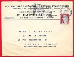 """1960 Lettre à En-tête """"Fournitures Générales Pour Fourreurs - P. BARATTE""""  Rue Des Martyrs 75009 PARIS * Fourrure Mode - Marcofilia (sobres)"""