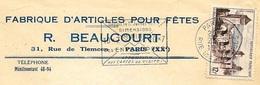 """1956 Lettre à En-tête """"Fabrique D'Articles Pour Fêtes - R. BEAUCOURT"""" Rue De Tlemcen 75020 PARIS - Marcofilia (sobres)"""