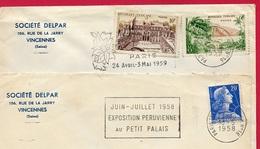 """(Lot De 2) 1958 Lettre à En-tête """"SOCIETE DELPAR"""" Rue De La Jarry (94) VINCENNES - Marcofilia (sobres)"""