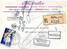 C10   1954 Lettre Entete Magasin Controle Allumage  En Recommandée De Morlaix - Marcofilia (sobres)
