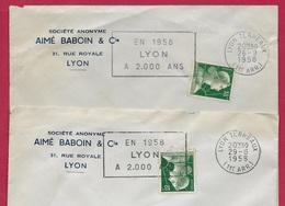 """(Lot De 2) 1958 Lettre à En-tête """"Société Anonyme AIME BABOUIN & Cie"""" Rue Royale 69 LYON - Flamme Marianne De Muller - Marcofilia (sobres)"""