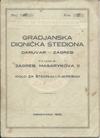 Document DO000219 - Bank Book Gradjanska Dionicka Stedionica Daruvar Zagreb Croatia Yugoslavia 1941 - Documenti Storici