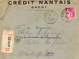 C10   1934 Lettre+ Courrier Entete Credit Nantais De Brest En Recommandée - Marcofilia (sobres)