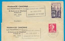 """(Lot De 2) 1955 Lettre à En-tête """"PHARMACIE CANONNE - LOUIS POUGETOUX & Cie"""" Bd Sébastopol 75003 PARIS - Marcofilia (sobres)"""