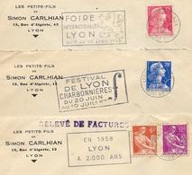 """(Lot De 3) 1956 & 1958 (2) Lettre à En-tête """" Les Petits-Fils De Simon CARLHIAN"""" Rue D'Algérie 69 LYON * Flamme - Marcofilia (sobres)"""