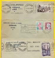 """(Lot De 3) 1955 (2) & 1961 Lettre à En-tête """"Manufacture Française De Masques - CESAR"""" 49 SAUMUR * Flamme - Marcofilia (sobres)"""