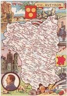 AVEYRON : N° 12 : Carte Géographique Du Département ( C.p.s.m. - Grand Format ) - Otros Municipios