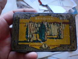 Old Tin Box Senousse Egyptian Blend Straw Tipped  N V Sigaretten Fabrik - Boites à Tabac Vides
