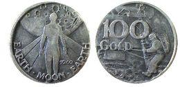 02508 MEDAGLIA MEDAL CONQUISTA DELLA LUNA FIRST MAN ON THE MOON LANDED 1969 GADGET TEMPO - Professionnels/De Société