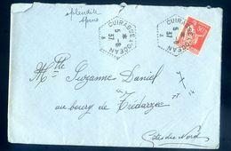 Lettre Poste Navale Marque Postale Double Cachets Cuirassé L' Océan à Destination De Trédarzec    AVR20-73 - Poststempel (Briefe)