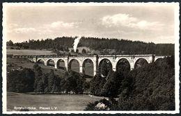 D6876 - Eisenbahn Dampflok Lokomotive - Viadukt - Brücke Syratalbrücke - Löffler - Trenes