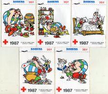 AUTOCOLLANT .  STICKER .  1987 . LOT DE CINQ . ASTERIX - OBELIX . GOSCINNY UDERZO . CROIX ROUGE . SABENA - Stickers