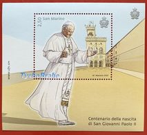 BLOCCO 100° PAPA GIOVANNI PAOLO II 2020 SAN MARINO Francobolli BLOCK POPE JOHN PAUL II SAINT-MARIN Stamp MNH TIMBRE JEAN - Blocs-feuillets