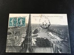 145 - PARIS Panorama De La Seine - Vue Prise De Notre Dame - 1911 Timbrée - France