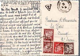 CARTE POSTALE TAXEE A L'ARRIVEE 1944 - POSTEE A MARSEILLE - PAS D'AFFRANCHISSEMENT ! - Postage Due