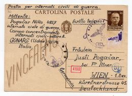WWII  08.05.1943. ITALY,GONARS,CIVILIAN PRISONERS CAMP,UDINE TO VIENNA,AUSTRIA,SLOVENIAN POW,CENSORED,STATIONARY CARD - Military Mail (PM)