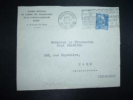 DEVANT TP M. DE GANDON 15F OBL.MEC.12 II 1953 ROUEN GARE (76) CONSEIL REGIONAL DE L'ORDRE DES PHARMACIENS DE LA 17e REGI - Marcofilia (sobres)