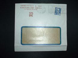 LETTRE TP M. DE GANDON 15F OBL.MEC.1-7 1953 ROUEN GARE (76) ABSIRE SEVREY & FILS La Trépointe Normande - Marcofilia (sobres)