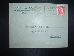 LETTRE TP M. DE GANDON 15F OBL.MEC.28 XI 1949 ROUEN GARE (76) SOCIETE SATCO - Marcofilia (sobres)