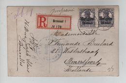 265PR/ TP Oc 16 (2) S/CP Recommandée Càp Brüssel 1917 Censure Aachen > Amersfoort Nederland - Guerre 14-18