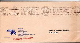 """LETTRE TCHECOSLOVAQUIE 1970 - OBLIT. MECANIQUE - """"VISITEZ L'EXPOSITION DE TCHAIKOVSKY A PRAGUE"""" + LA VIE A DILO - - Música"""