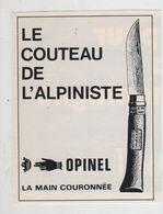 Le Couteau De L'alpiniste Opinel La Main Couronnée - Advertising